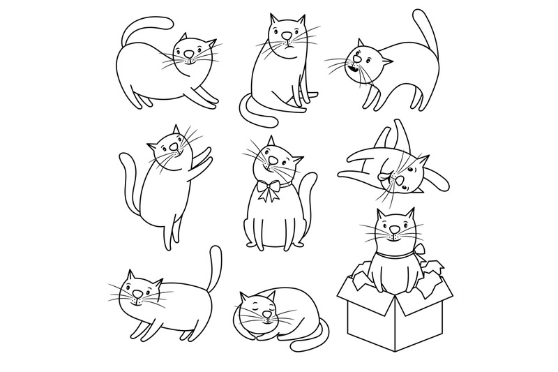 doodle-sketch-cats-character-set