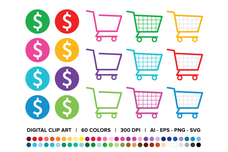 shopping-carts-amp-dollar-signs-clip-art-set