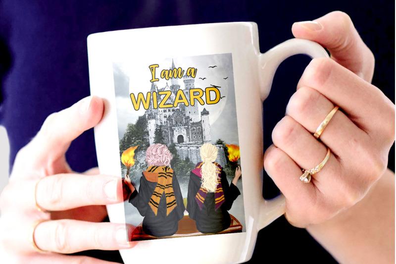 wizard-girls-castel-landscape-dog-clipart-wizard-friends