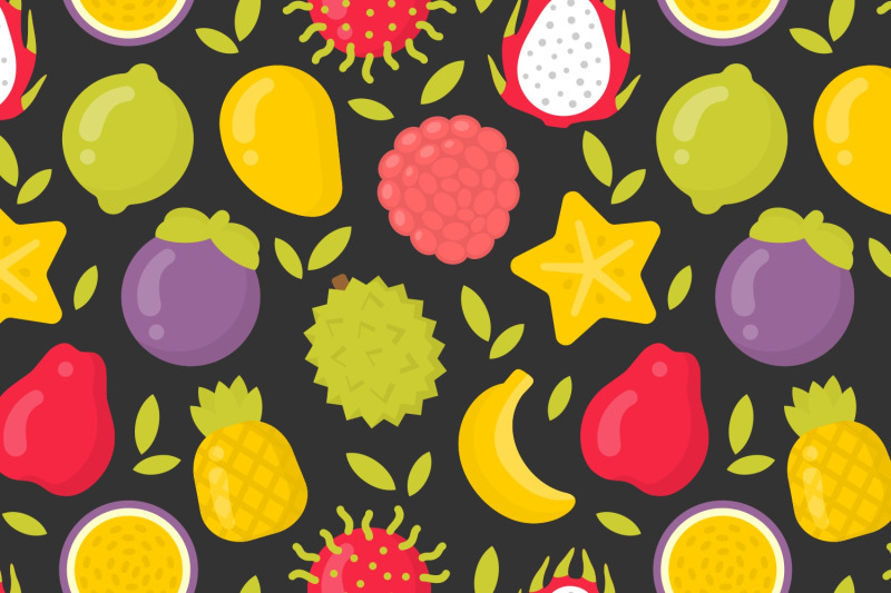 4-cute-exotic-fruits-seamless-patterns