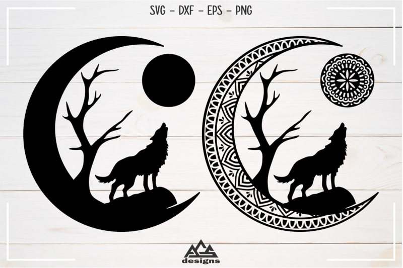 moon-wolf-barking-mandala-earring-svg-design