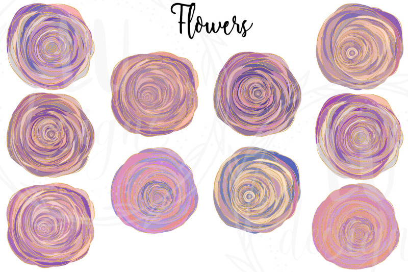 roses-clipart-floral-glitter-illustrations-wedding-flowers-graphics