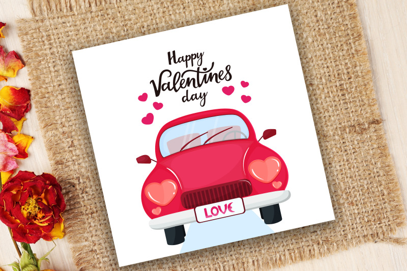 red-car-with-headlights-in-the-shape-of-a-heart-happy-valentine-039-s-day