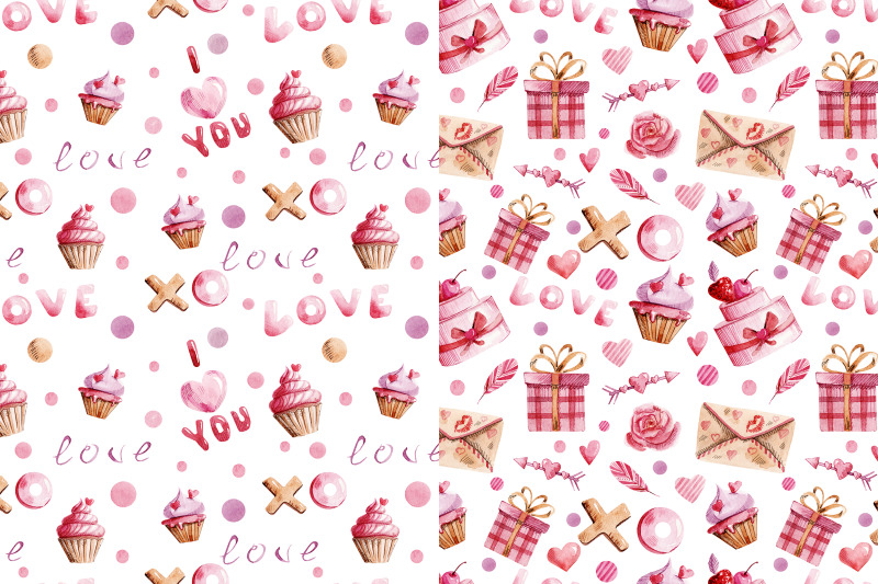 velentine-039-s-day-watercolor-seamless-patterns