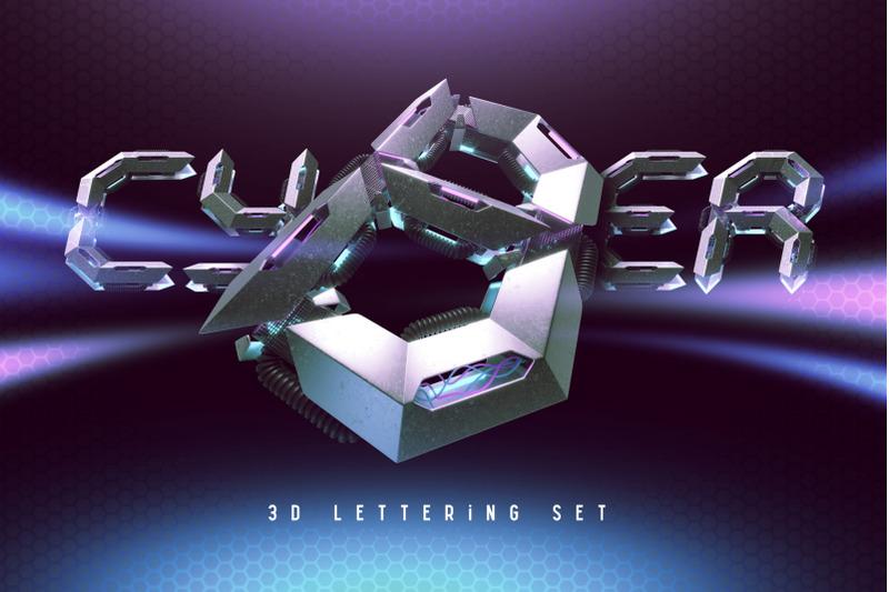 cyber-3d-lettering-set