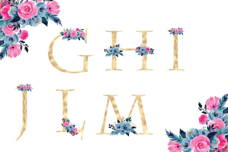 colorful-romantic-pink-florals-alphabet-gold-foil-alphabet-with-flowers-floral-alphabet-clipart-wedding-alphabet-golden-monogram-letters