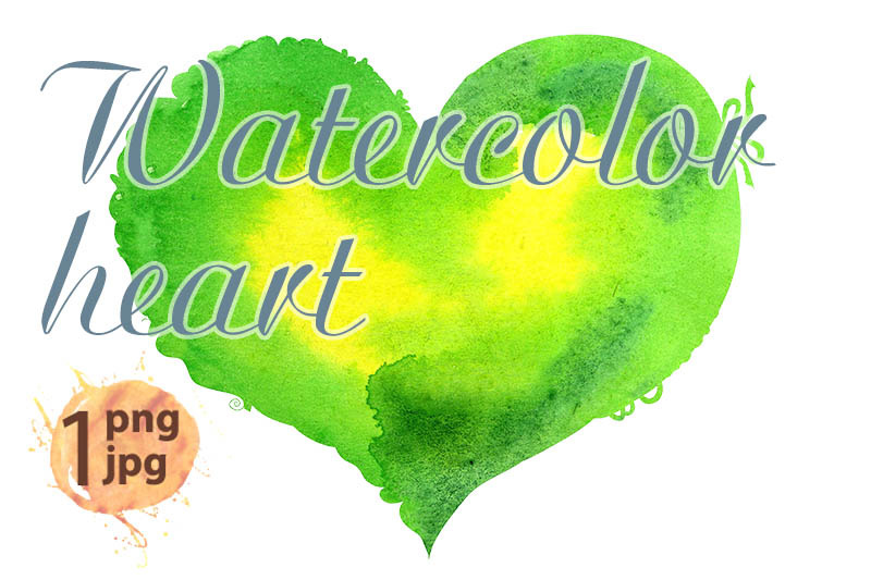 watercolor-light-green-heart-with-a-lace-edge