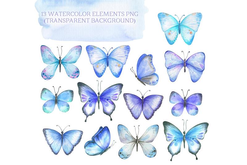 watercolor-blue-butterflies