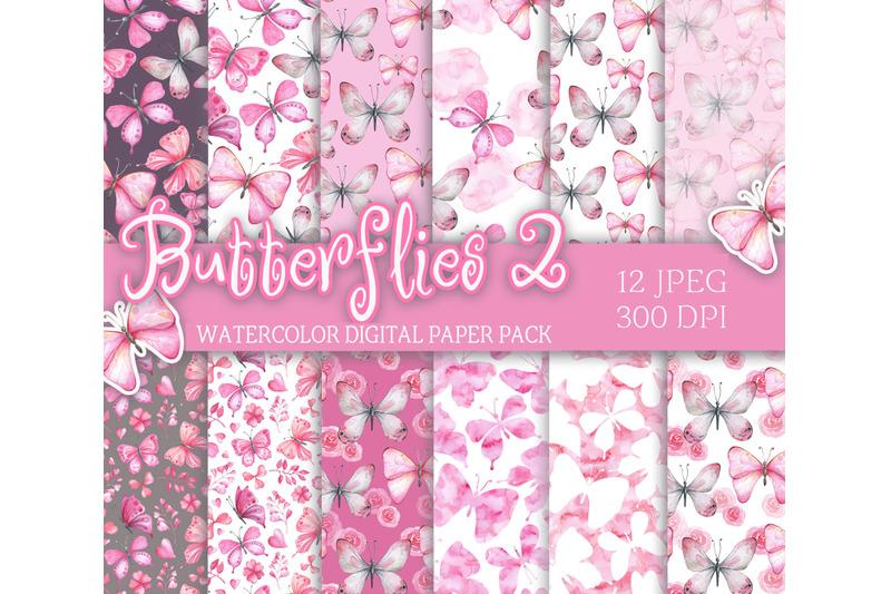 watercolor-digital-paper-pack-pink-butterflies-seamless-patterns