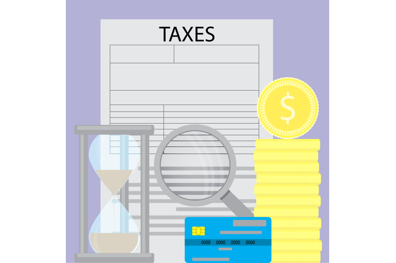 tax-and-money-flat-business-concept