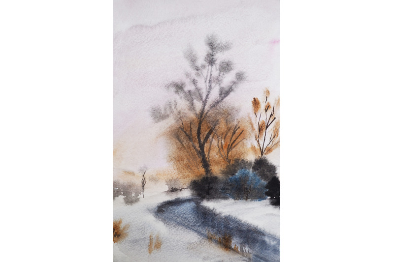 watercolor-landscape-with-river-with-river-and-trees