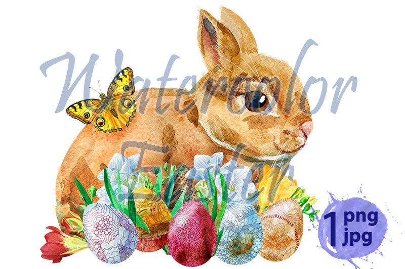 watercolor-illustration-of-a-beige-rabbit-with-eggs-and-grass