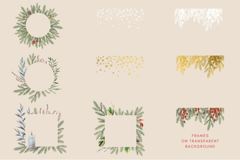 watercolor-hand-drawn-christmas-frames-clipart-set
