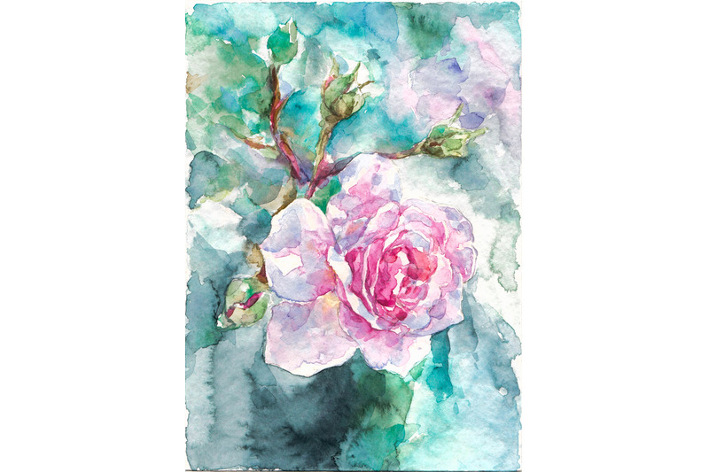 hand-drawn-watercolor-pink-rose-on-blue-background