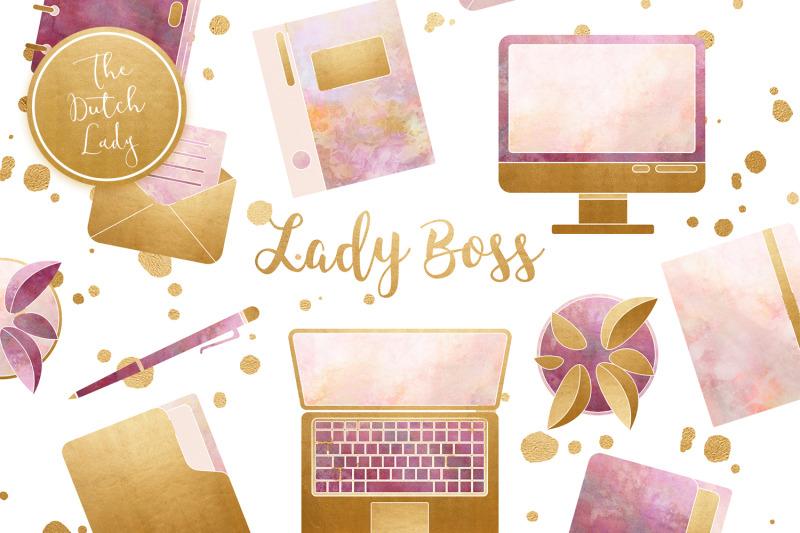 lady-boss-office-clipart-set