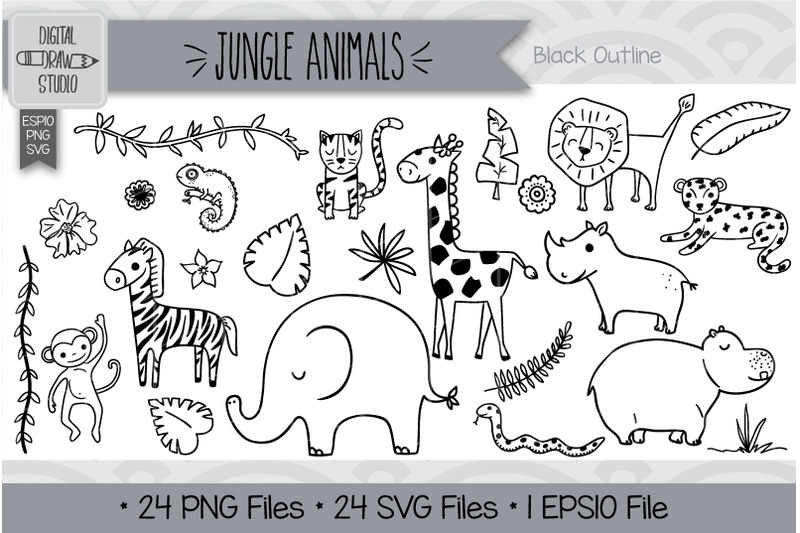 144-hand-drawn-jungle-animals-and-tropical-leafs