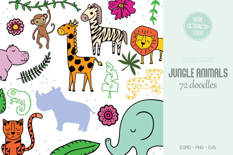 jungle-animals-and-tropical-leafs-hand-drawn-colored-doodles