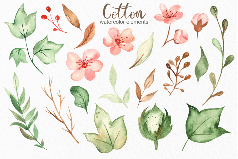 cotton-watercolor-collection-clipart-frames-wreaths-patterns