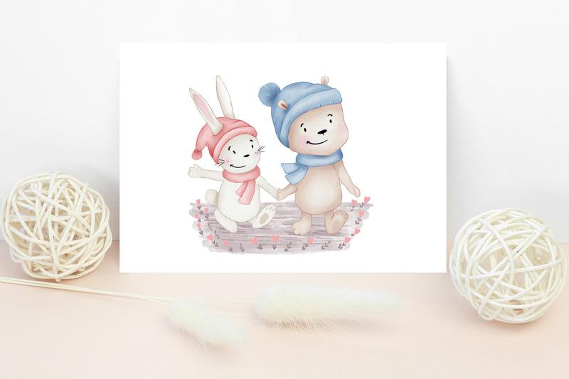 animals-love-friendship-tiger-teddy-bear-cat-rabbit