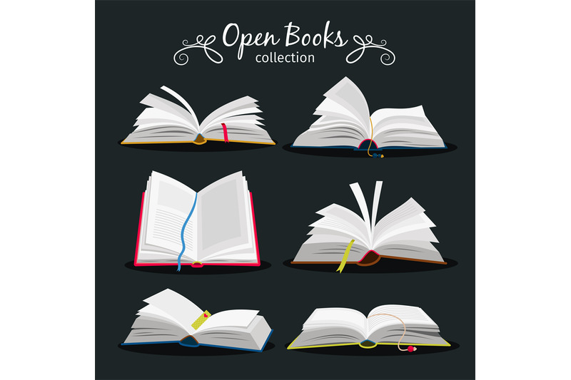 open-books-new-open-book-set-with-bookmark-between-pages-for-encyclop