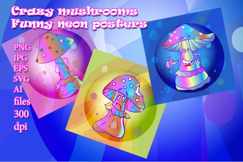 crazy-mushrooms-funny-neon-stickers