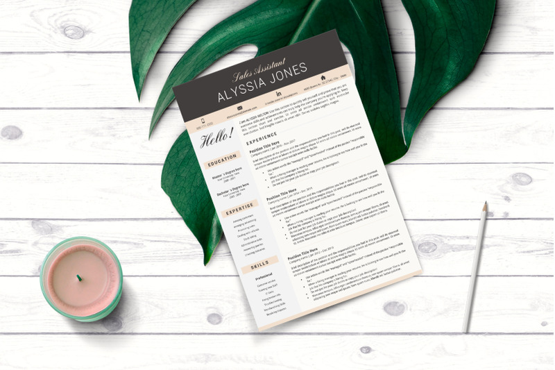 Modern and Professional Resume. Sales Assistant CV + Cover ...