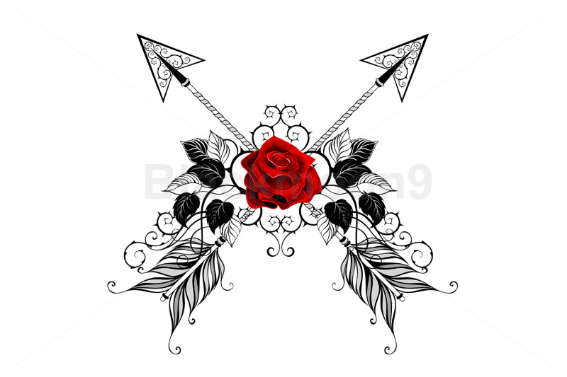 black-arrows-with-red-roses