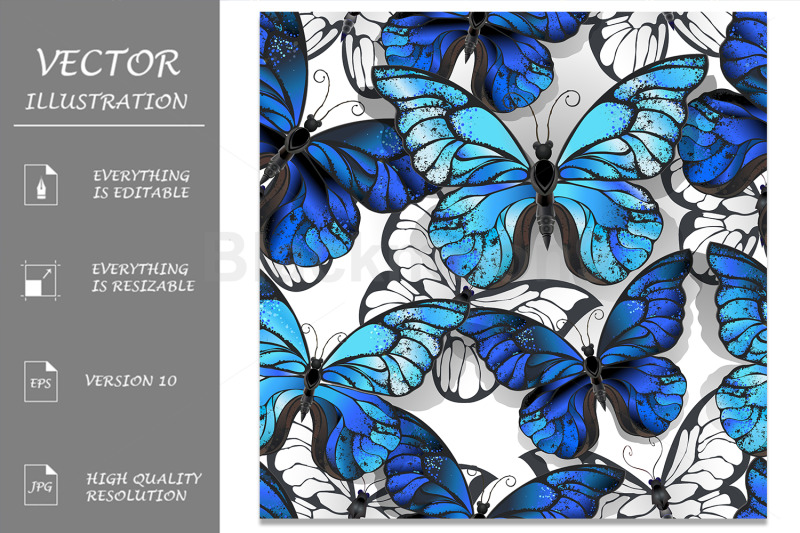 white-seamless-pattern-with-blue-butterflies