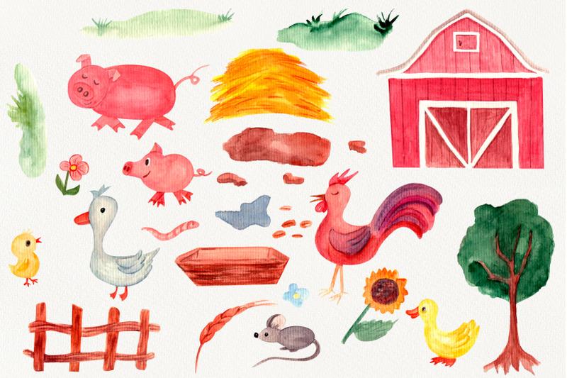 farm-yard-watercolor-clipart