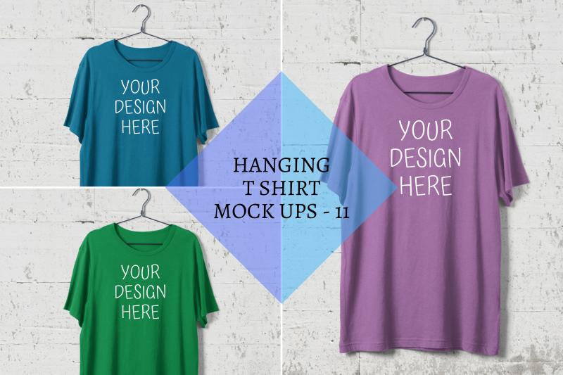 hanging-t-shirt-mock-ups-steel-hanger-white-wall-background-png
