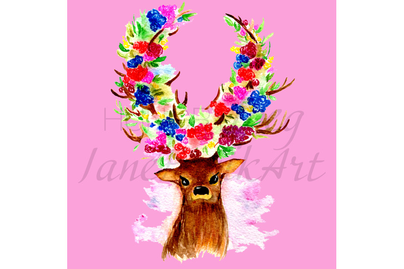 watercolor-deer-painting-with-flowers-isolated-illustration-png-amp-jpg