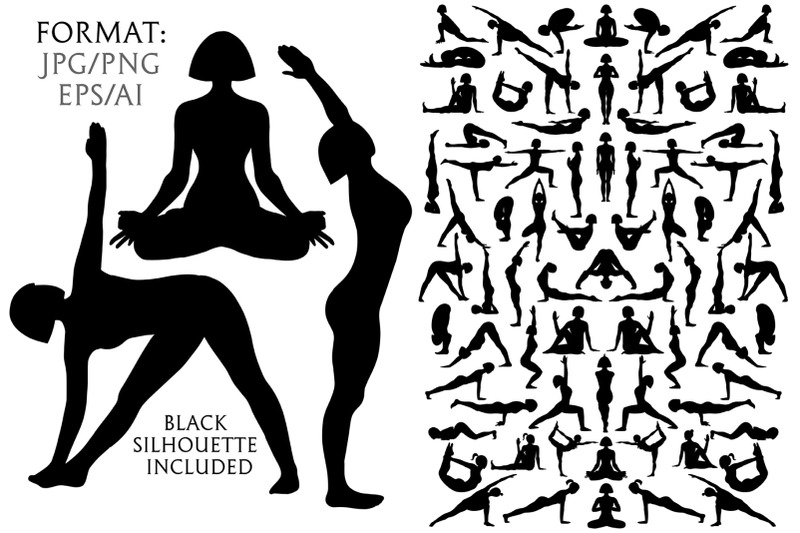 women-yoga-silhouettes-pose-exercises-set-yoga-postures