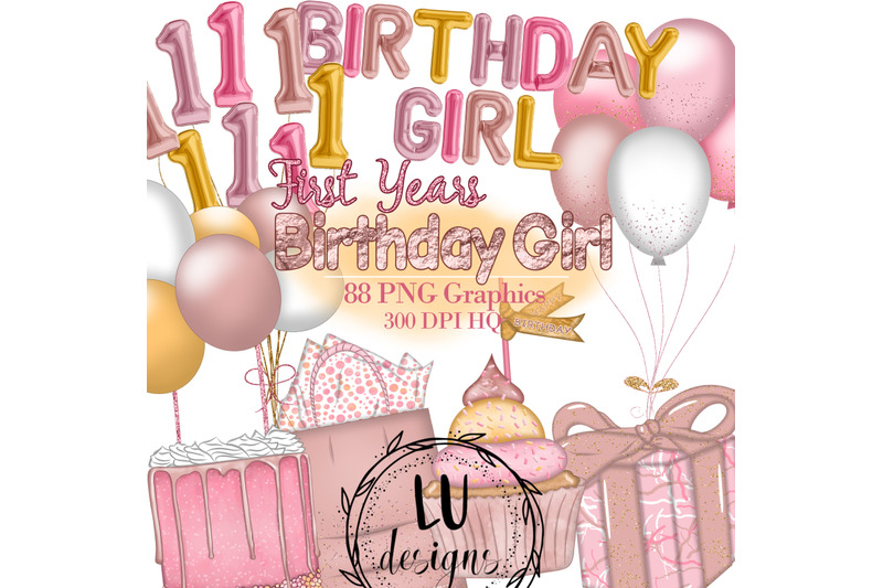 birthday-girl-clipart-first-years-party-illustrations-foil-balloons