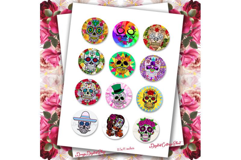 sugar-skulls-digital-collage-sheet-sugar-skull-flowers