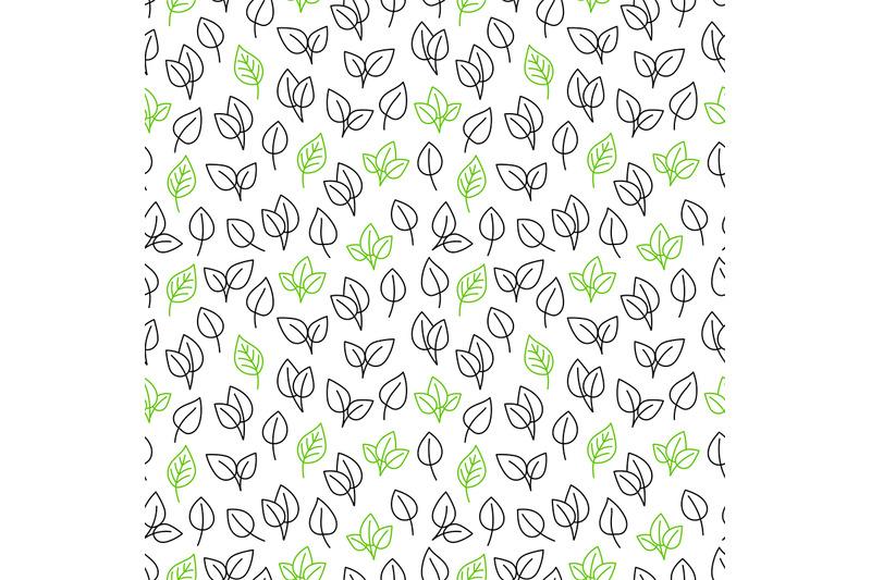line-leaves-seamless-pattern