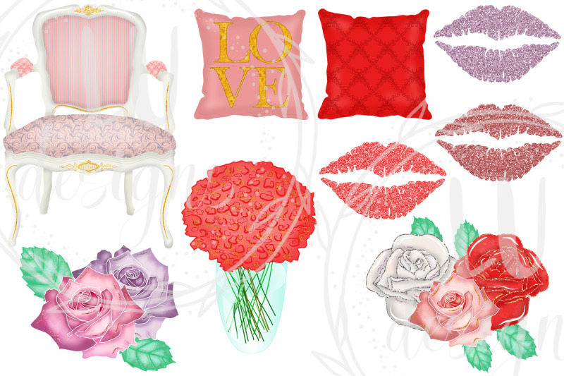 valentines-clipart-romantic-girl-graphics-love-illustrations