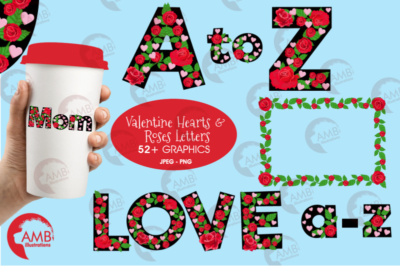 valentine-rose-and-heart-letters-clipart-amb-2714