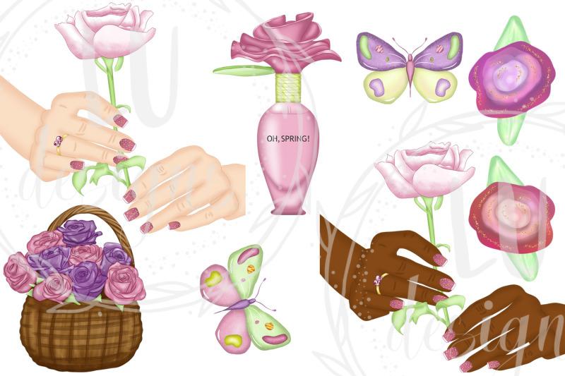 spring-clipart-spring-fashion-girl-floral-garden-graphics