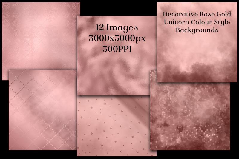 decorative-rose-gold-unicorn-colour-style-backgrounds-textures-set