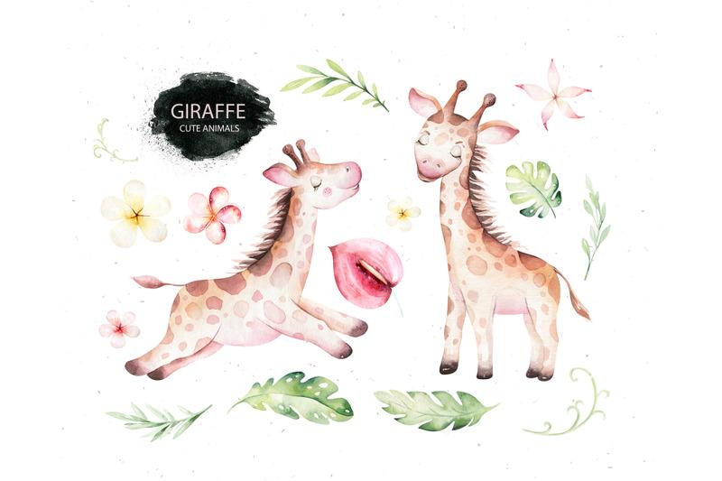 giraffe-watercolor-collection