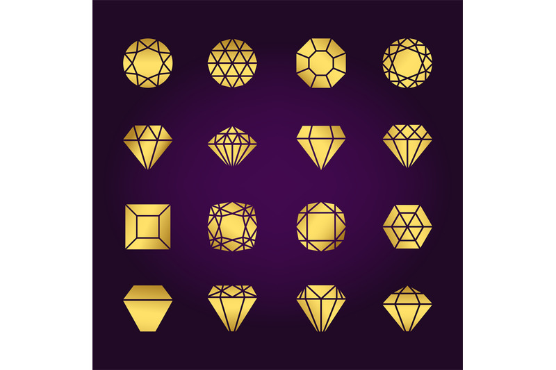 diamonds-shapes-gold-icons-set