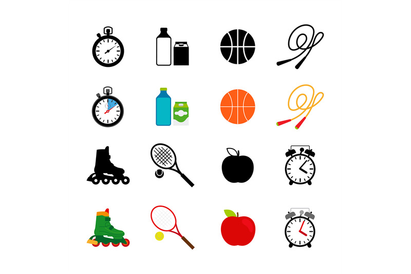 sport-equipment-food-icons-set