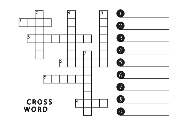 black-and-white-crossword-vector-template-page