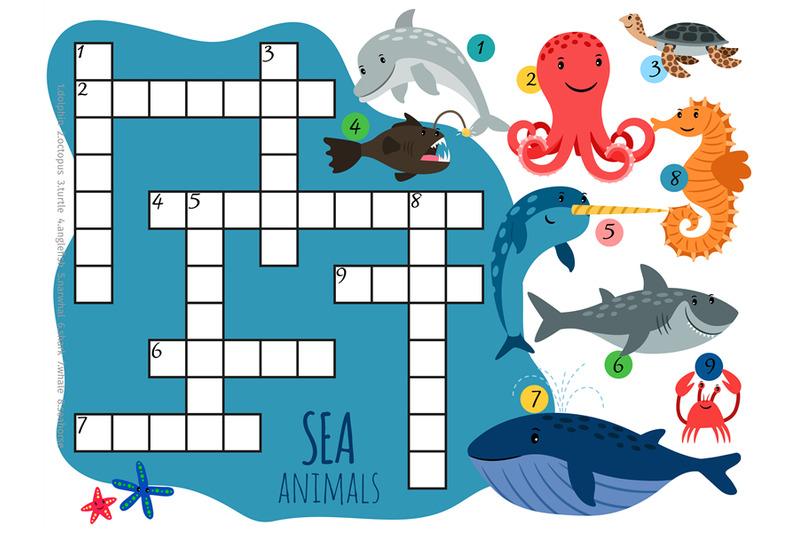 vector-sea-animals-crossword-template-with-cartoon-characters