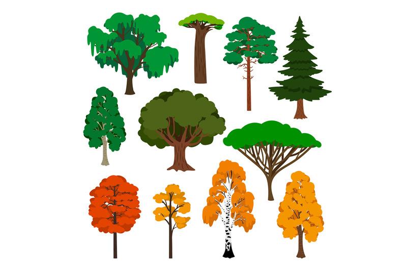 cartoon-trees-icons-set