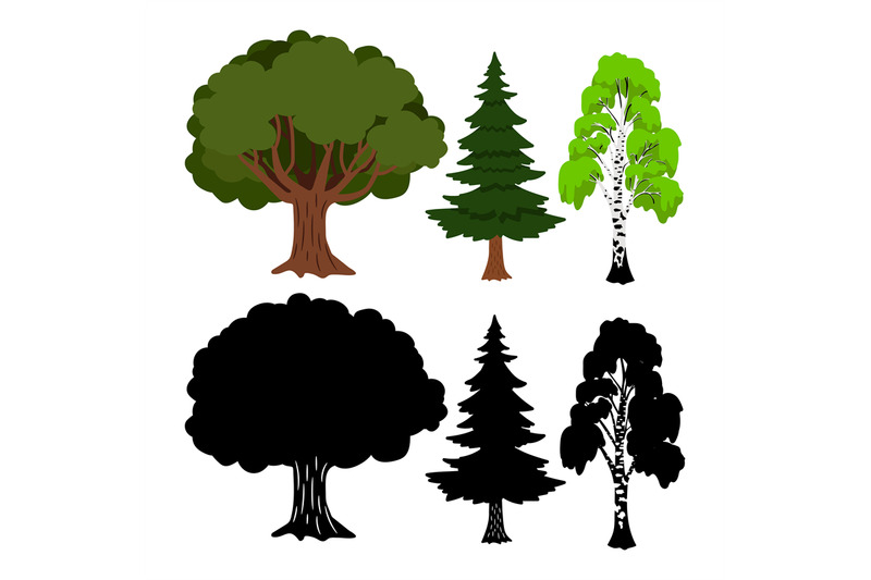 forest-tree-vector-elements-green-ans-black-silhouettes-trees