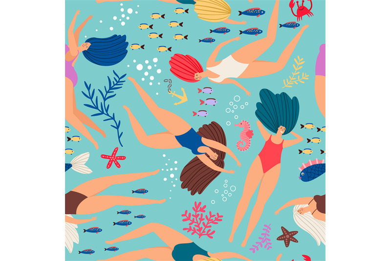swimmers-girls-underwater-pattern-with-color-fish