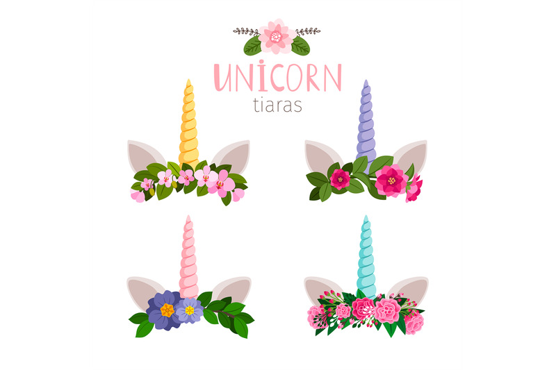 unicorn-tiaras-with-colored-flowers-of-collection