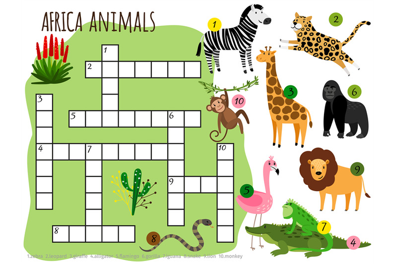 exotic-african-animals-vector-crossword-for-children