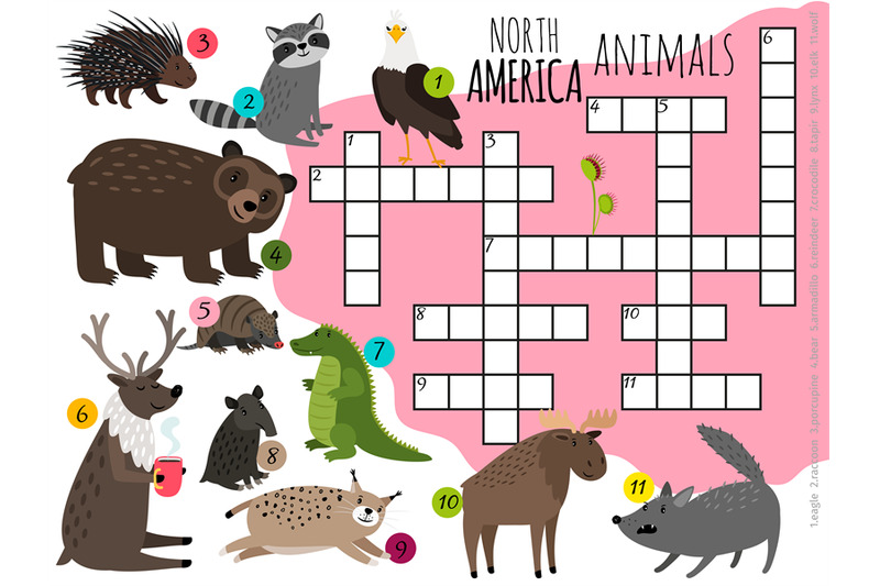 cartoon-north-america-animals-kids-crossword-vector-design